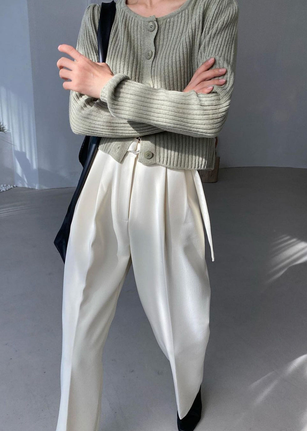 Belted Pleat Front Pants in Cream