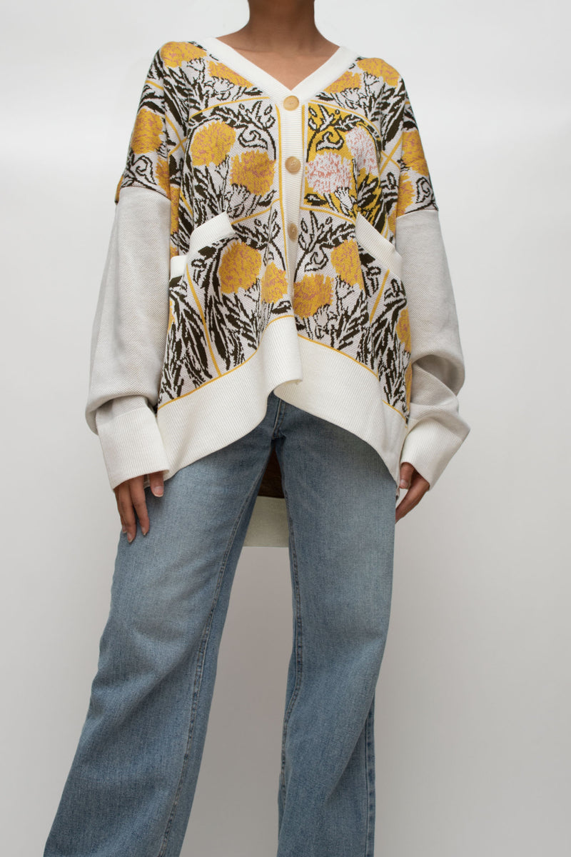 Floral Pattern Oversized Cardigan