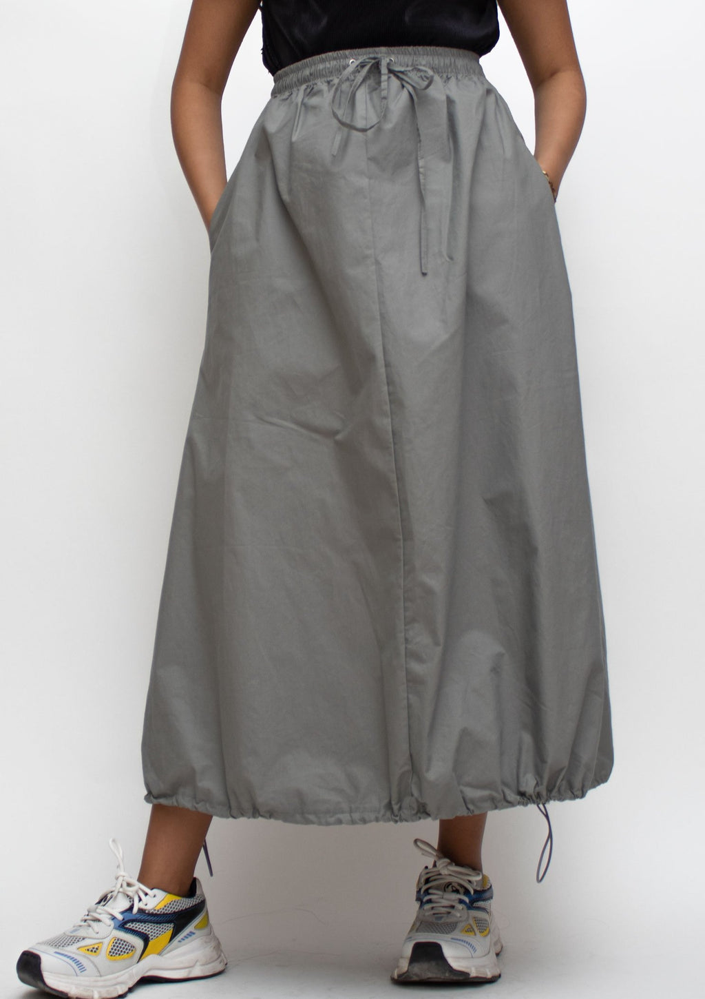 Grey Drawstring Hem Midi Skirt