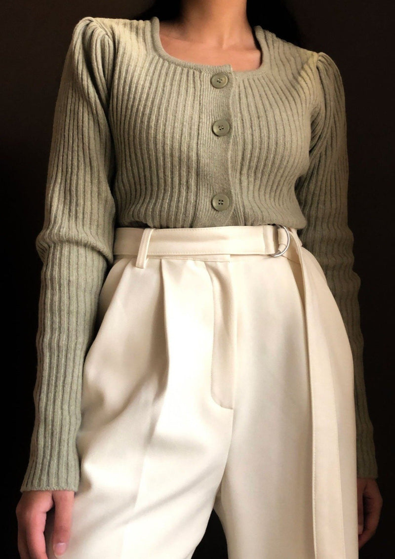 Moss Green Cropped Knit Cardigan