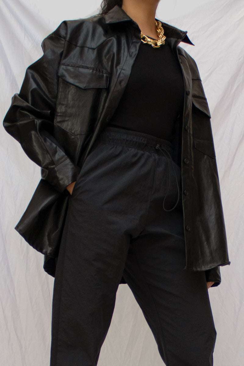 Faux Leather Belted Jacket in Black
