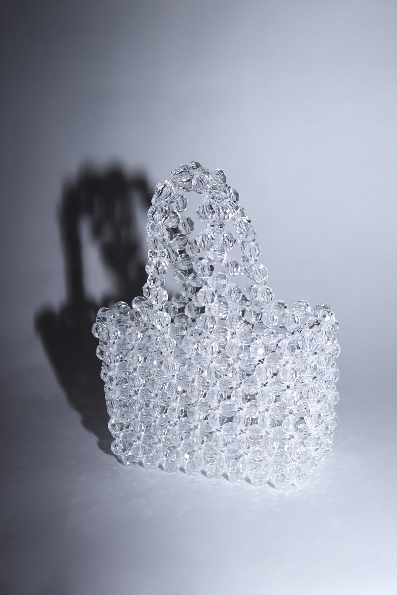Clear Crystal Beaded Mini Bag