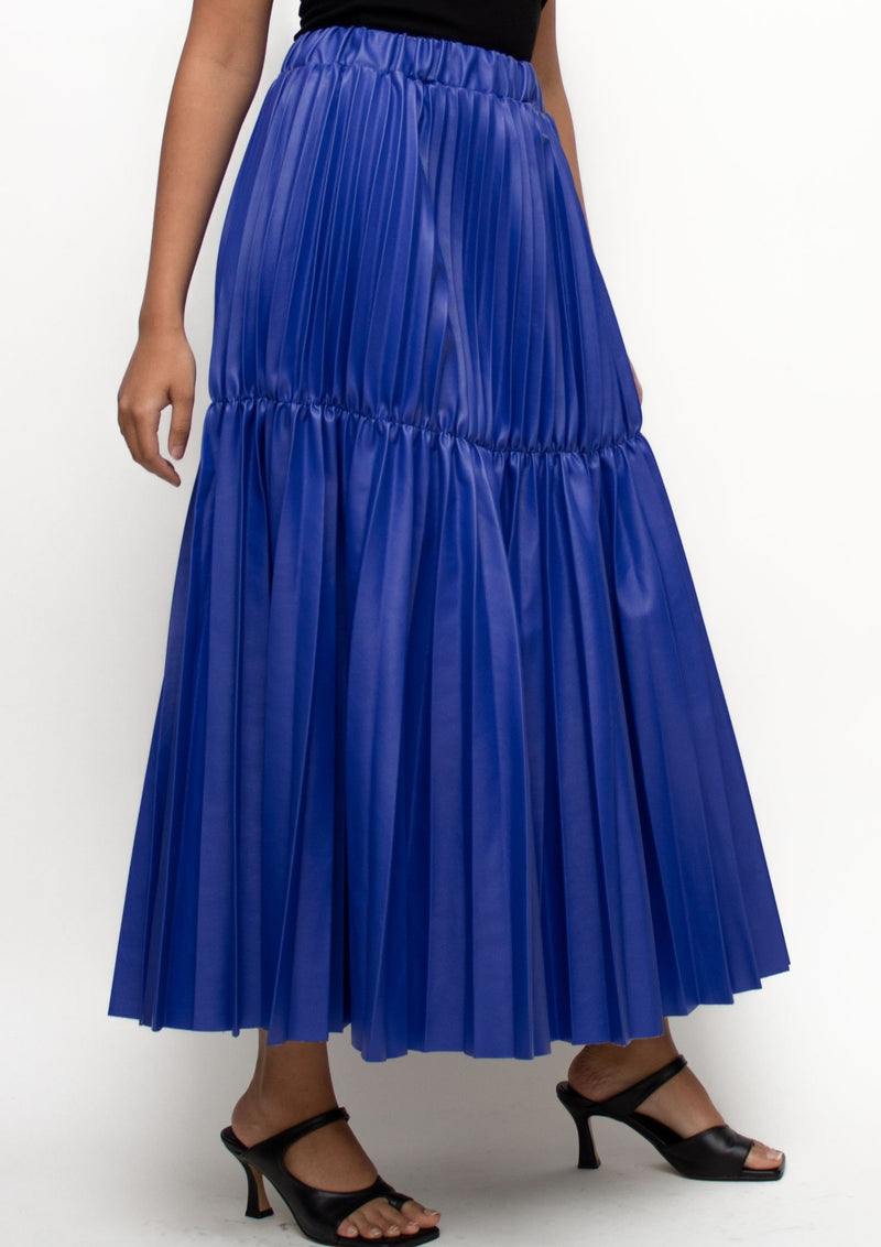 Faux Leather Long Pleated Skirt in Royal Blue