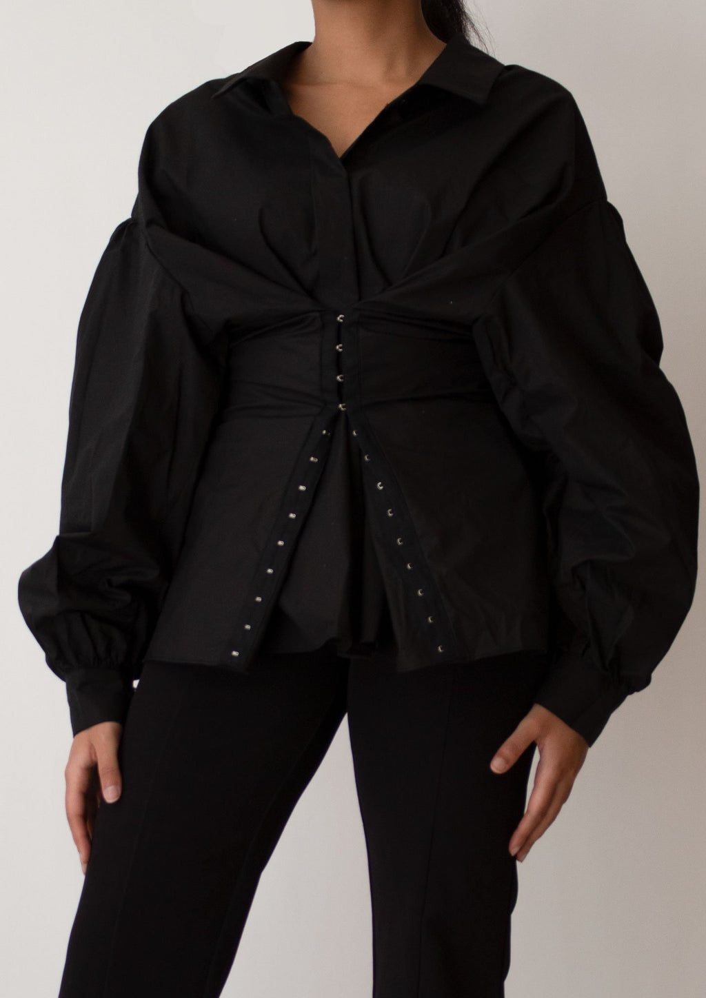 Puff Sleeves Corset Blouse in Black