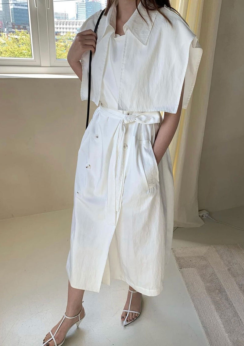 Sleeveless Cotton Trench Dress in White