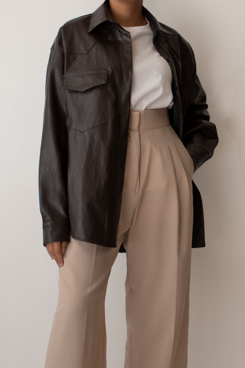 Faux Leather Belted Jacket in Brown