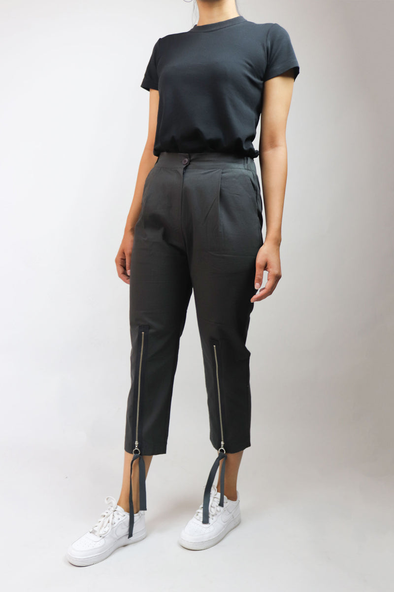 Zip Down Black Cropped Pants