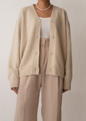 Fuzzy Wool Beige Knit Cardigan