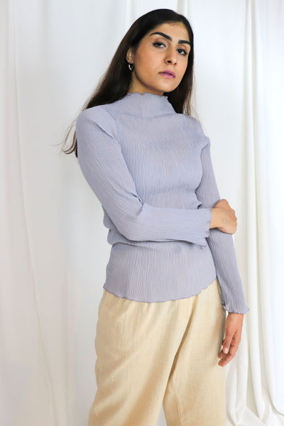 Soft Blue Textured Blouse