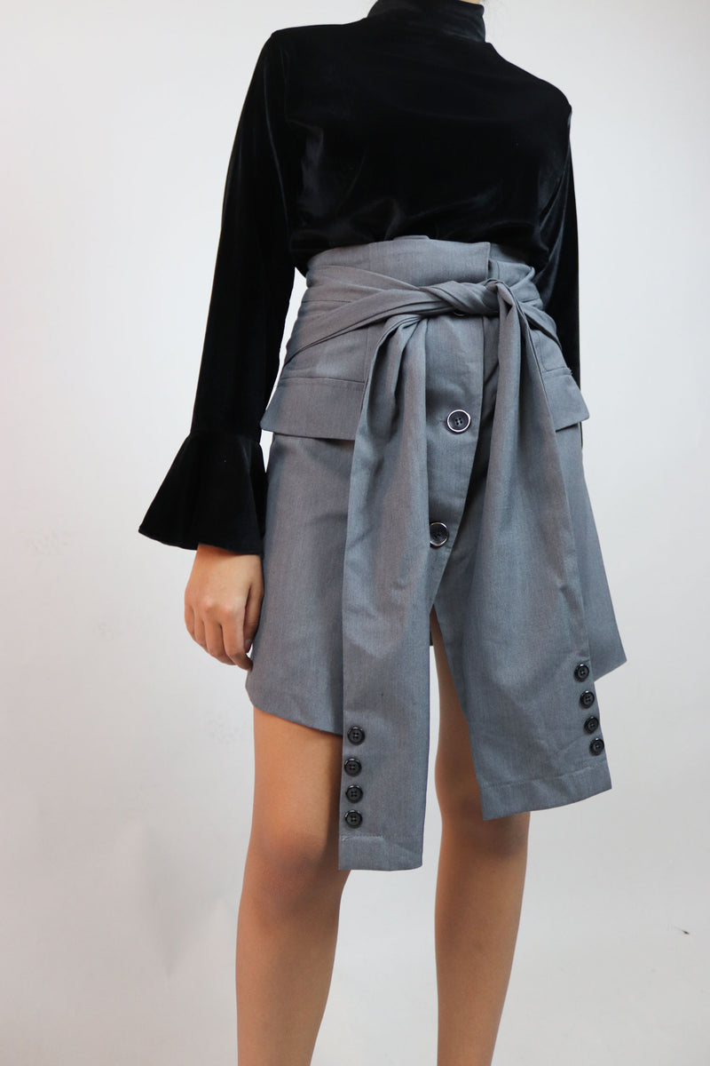 Grey Sleeves Mini Skirt