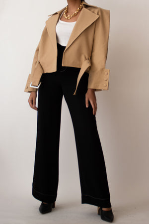 Beige Short Belted Trench Jacket
