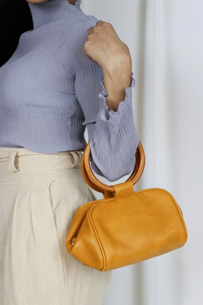 Orange Circle Handle Bag