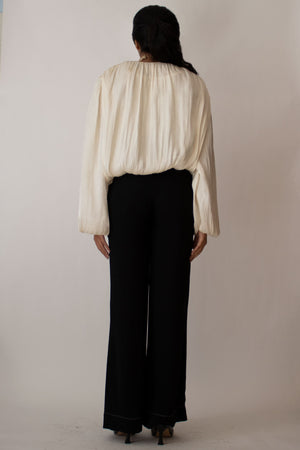 Ivory Satin Pleated Blouse