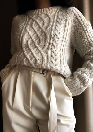 Chunky Cable Knit Sweater in Bone