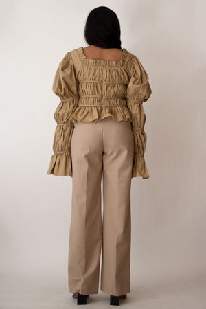 Ruched Puff Sleeves Cropped Blouse in Beige