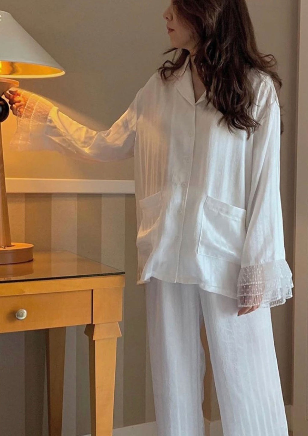 White Satin Striped Pyjama Set