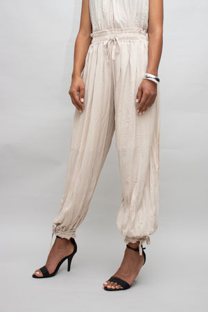 Beige Pleated Pants Set