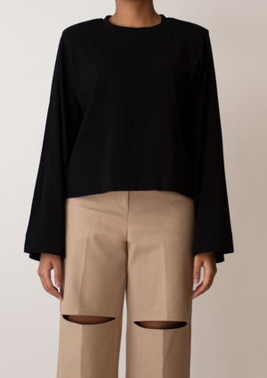 Padded Shoulder Long Sleeve Top in Black