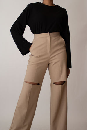 Beige High Waisted Slit Trousers