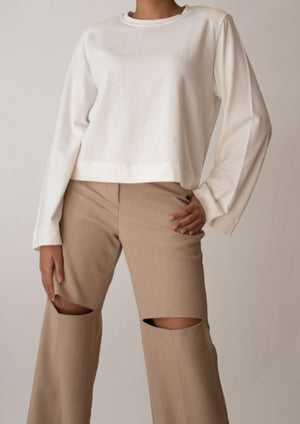 Padded Shoulder Long Sleeve Top in White