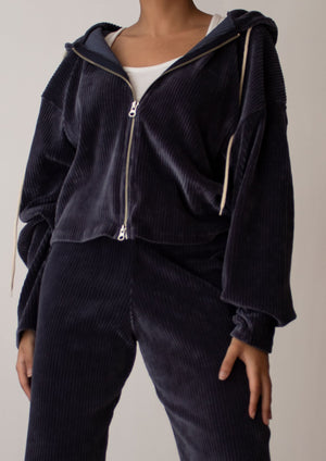 Corduroy Double Zipped Hoodie in Navy