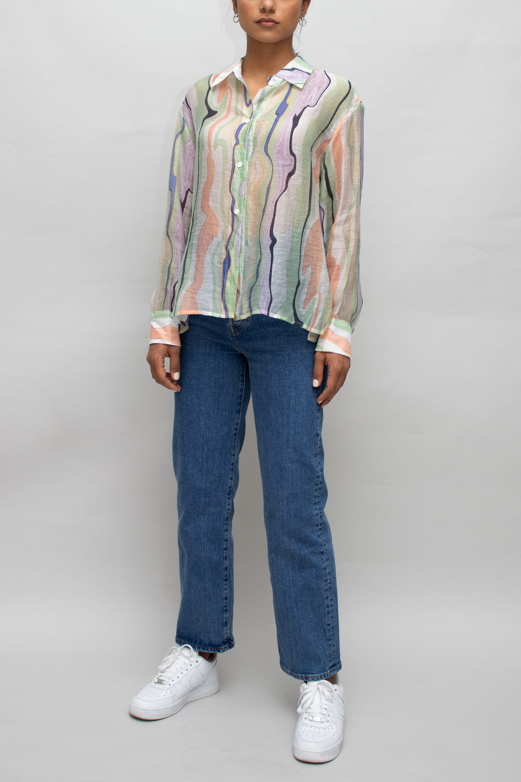Wave Patterned See Through Blouse