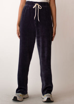 Corduroy Drawstring Sweatpants in Navy