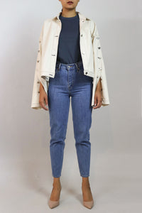 Buttoned Sleeves Denim Jacket