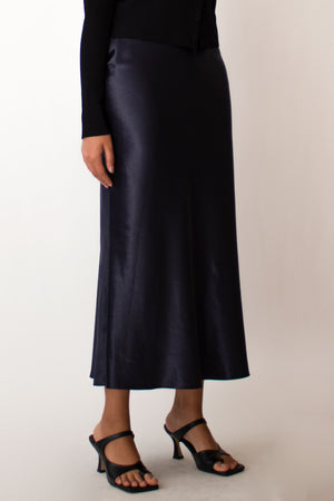 Navy Satin Slip Skirt