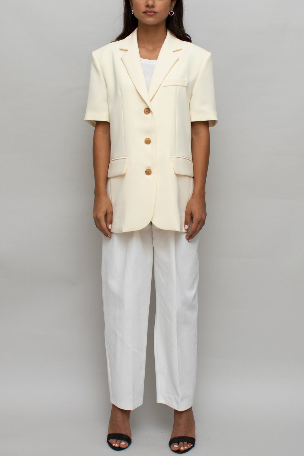 Short Sleeve Pale Yellow Blazer