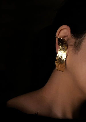 Gold Structured Clip On Earrings