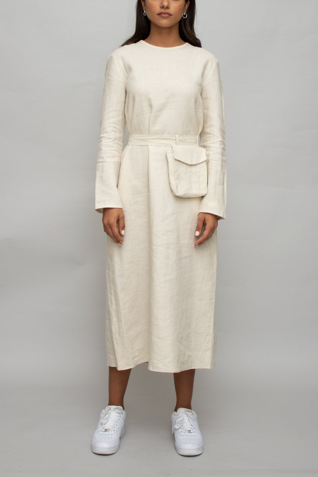 Linen Pocket Belt Long Dress