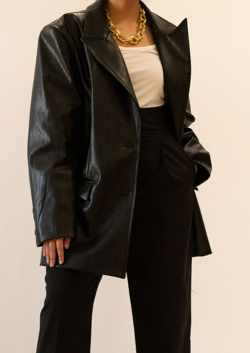 Faux Leather Belted Blazer