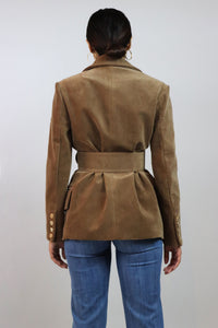 Brown Double Breasted Belted Blazer