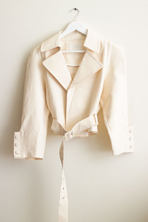 Cream Short Belted Trench Jacket