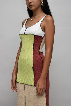 Color-block Knit Sleeveless Dress