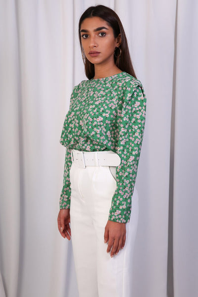 Green Floral Round Neck Blouse