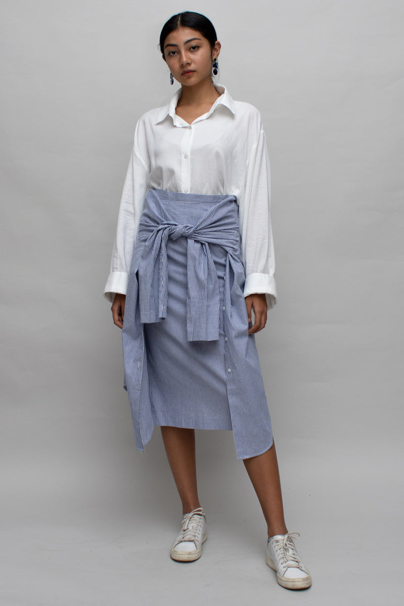 Blue Striped Sleeves Skirt
