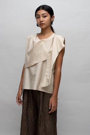 Beige Scarf Detail Sleeveless Blouse