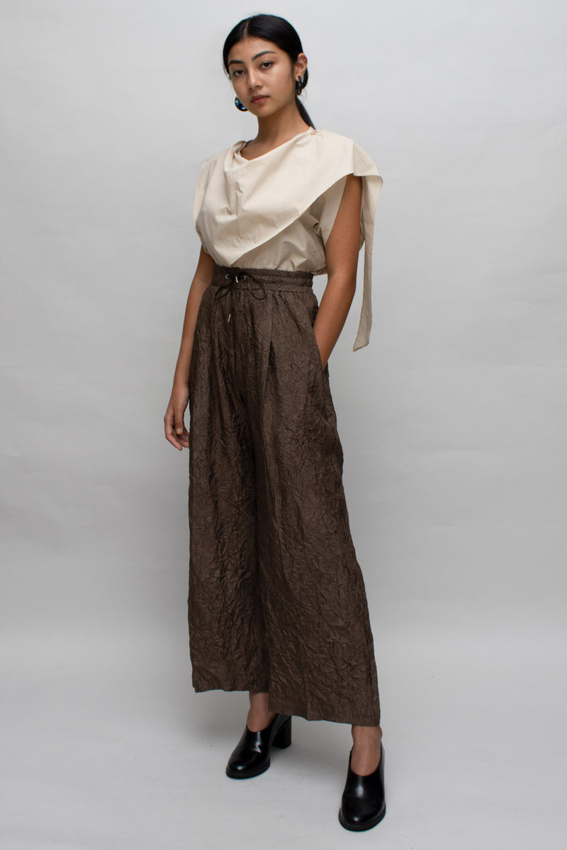 Brown Wrinkle Textured Pants