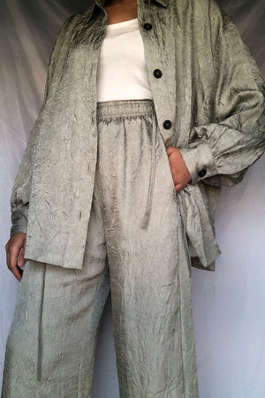 Textured Oversized Khaki Shirt