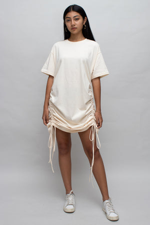 Cream Ruched T-shirt Dress