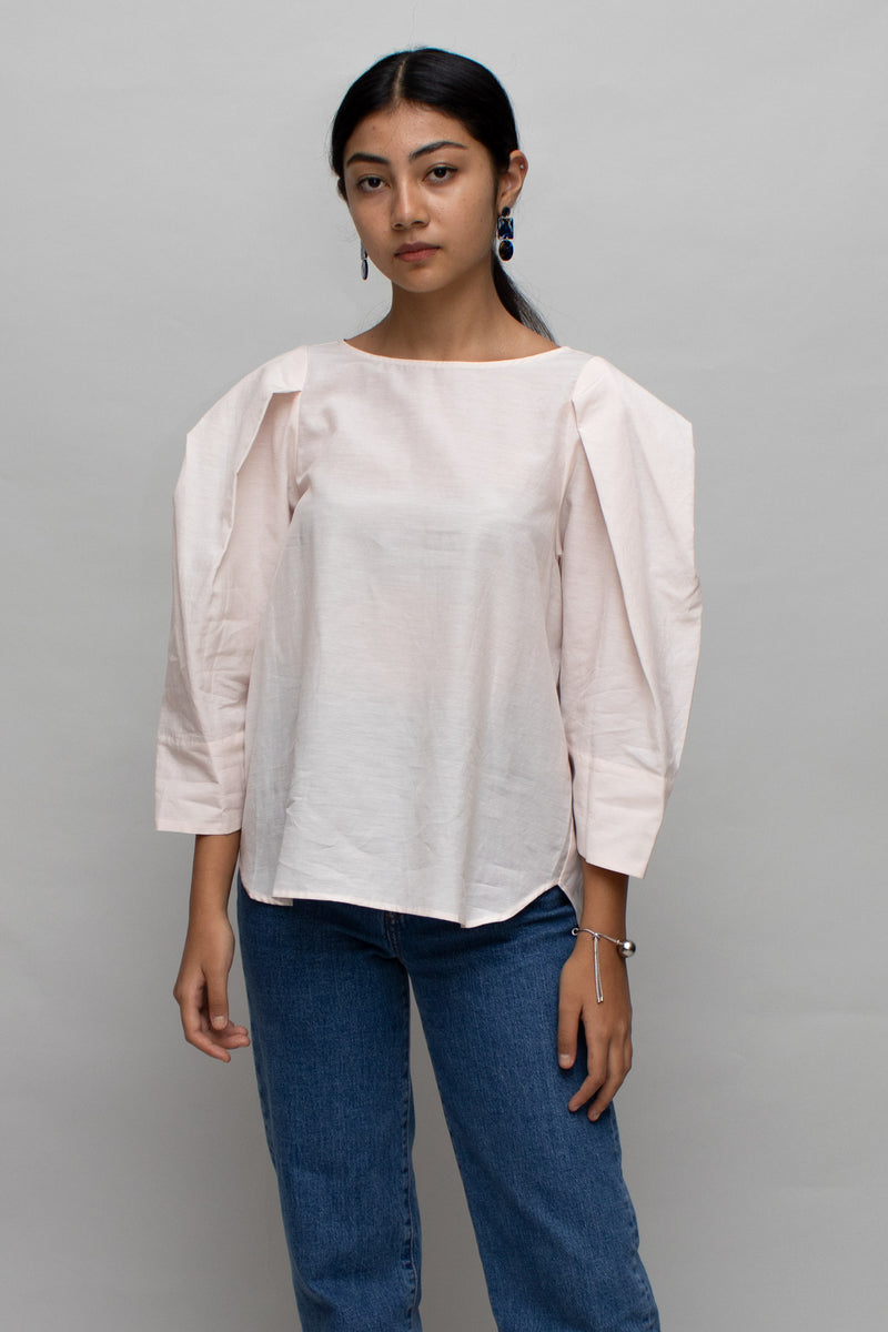 Pink Puff Sleeves Blouse