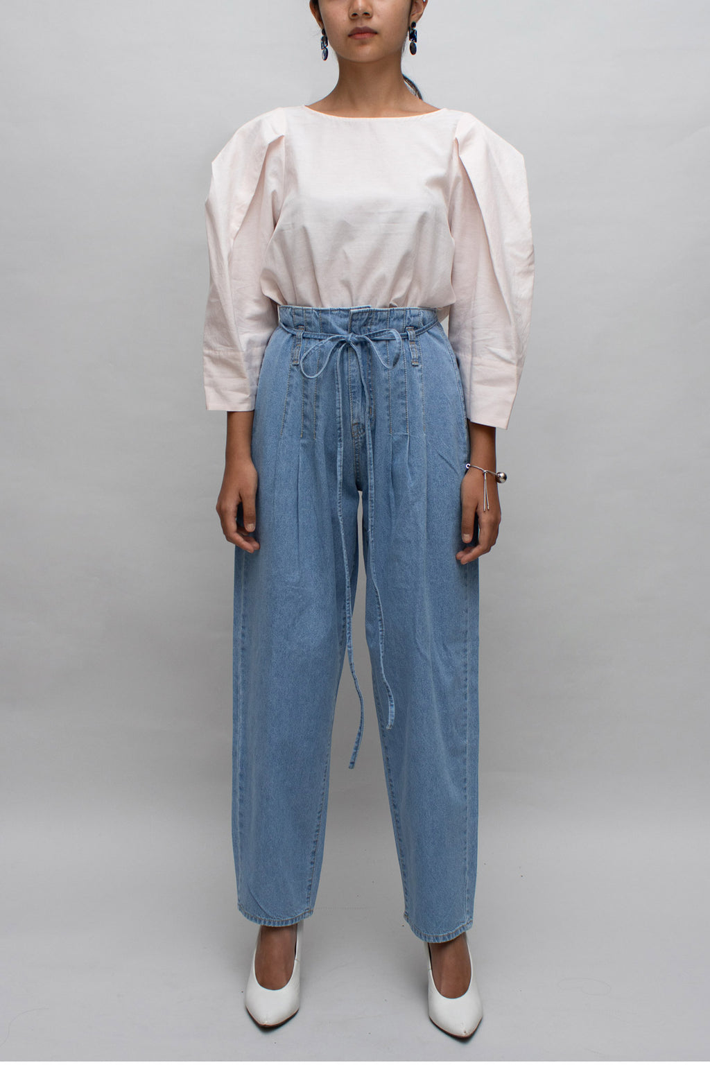 Denim Pintuck High Waisted Pants