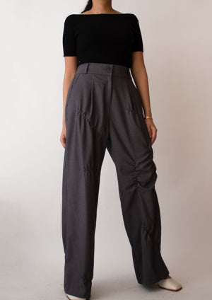 Baggy Ruched Detail Pants in Charcoal Grey