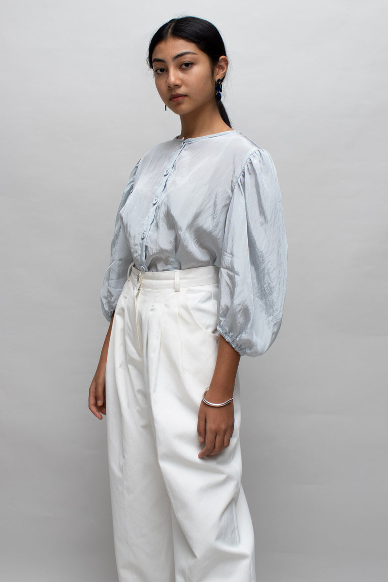 Icy Blue Puff Sleeves Blouse