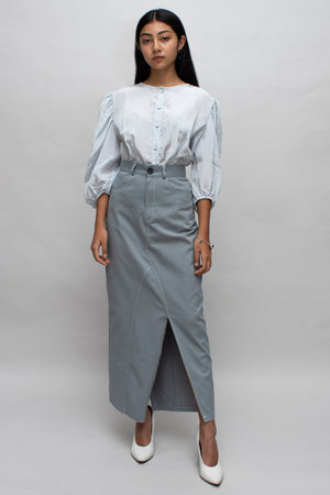 Grey and White Contrast Stitch Skirt