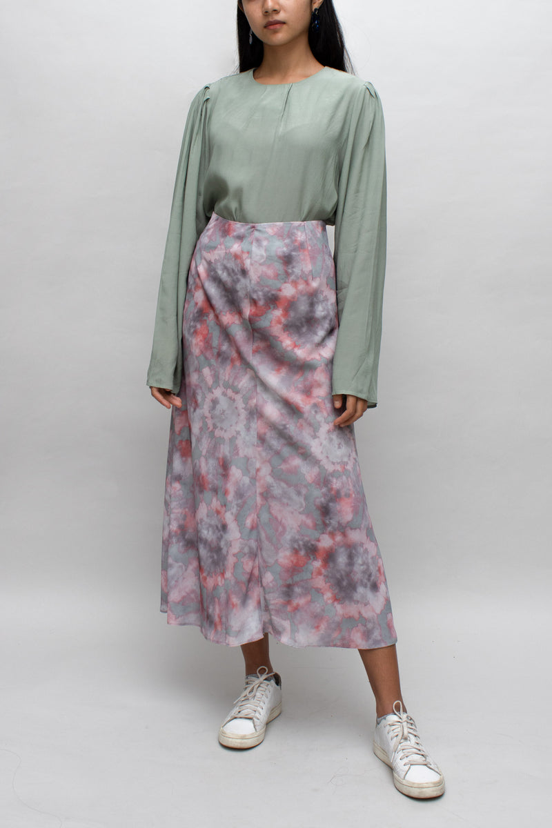 Pink and Green Tie-dye Skirt