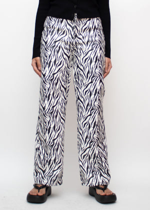 Zebra Straight Leg Faux Leather Pants