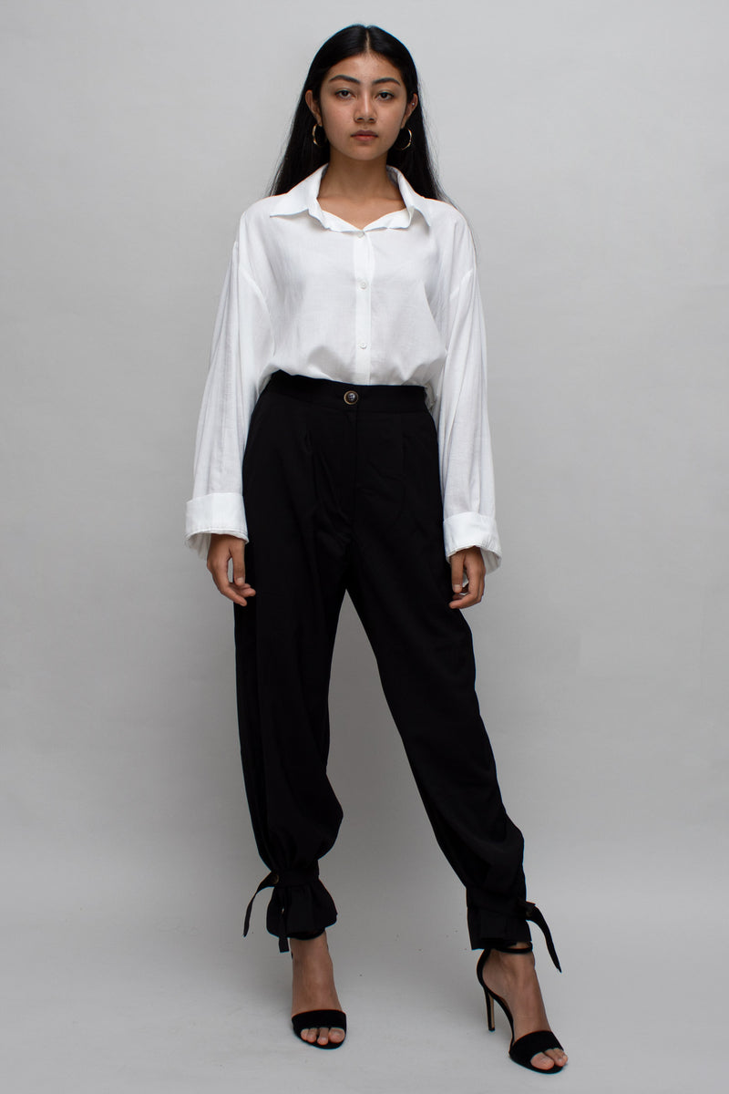 Black High Waisted Ankle Tied Pants